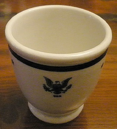 navy Senior officer footed egg cup cup, eagle with usn, shenango