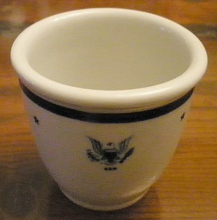 navy Senior officer footed egg cup cup, eagle with usn, tepco