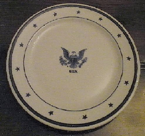 navy Senior officer salad plate, eagle with usn