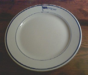 navy captain dinner plate, pennant with 4 stars