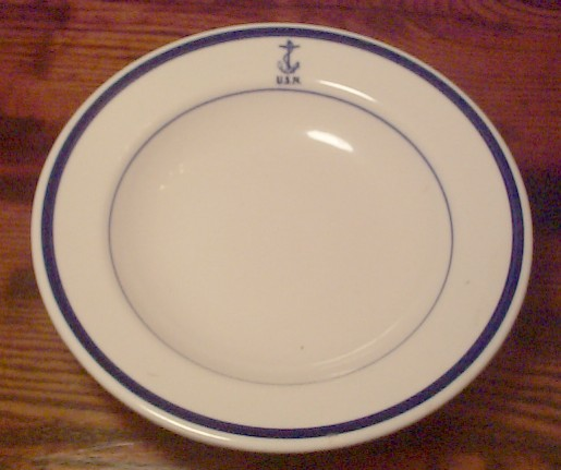 navy wardroom officer cereal or salad bowl, anchor usn