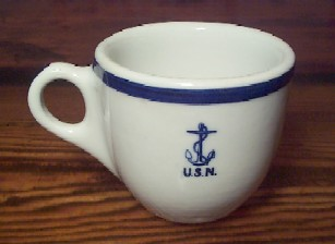 wardroom officer demitasse coffee cup, anchor usn