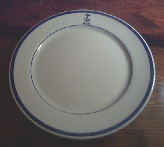 navy wardroom officer dinner plate, anchor usn