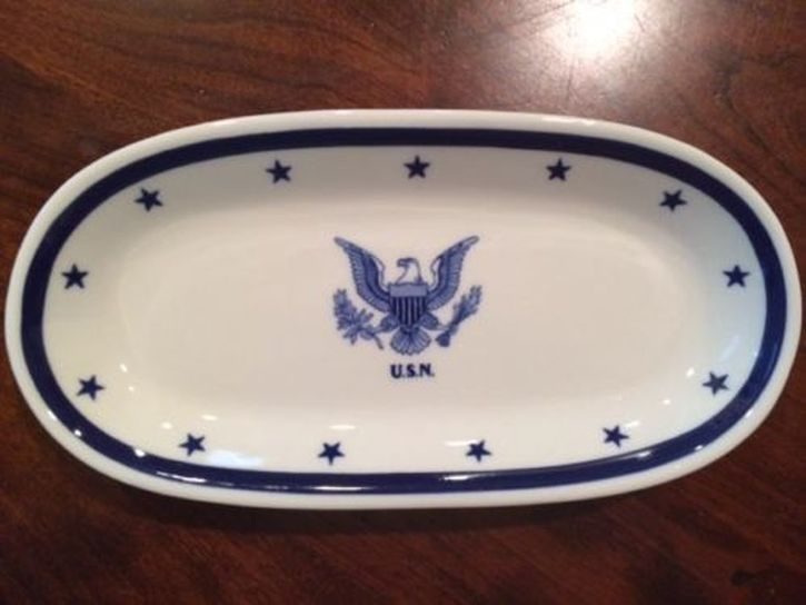 Oblong Celery or Butter Dish, eagle with usn