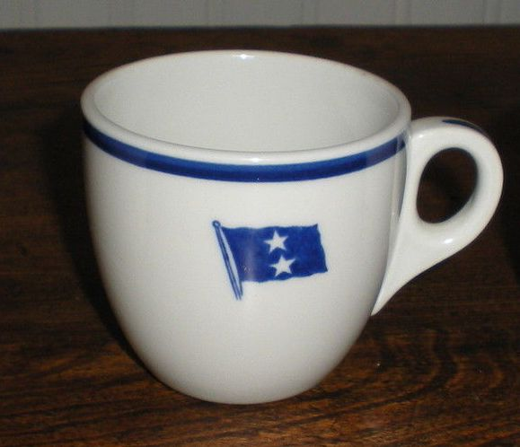 rear admiral, 2 stars, demitasse coffee cup
