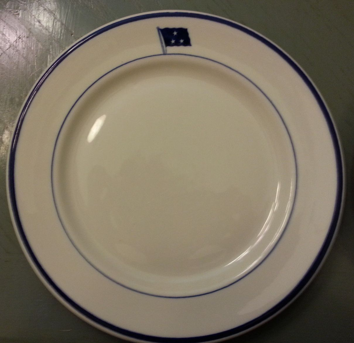 vice admiral, 3 stars, dinner plate by shenango china