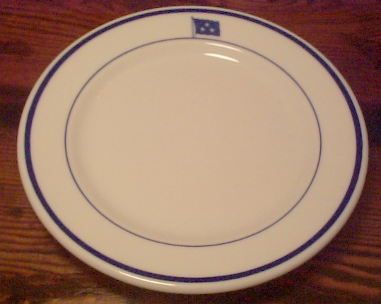 vice admiral, 3 stars, salad plate or bread and butter plate