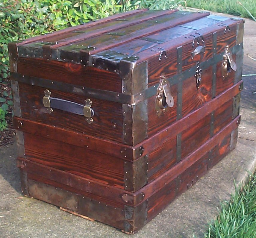restored victorian flat top antique trunk for sale 642