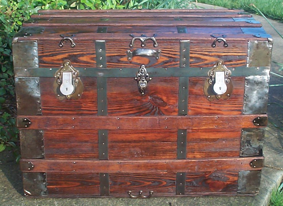 restored all wood flat top antique steamer trunk for sale 642
