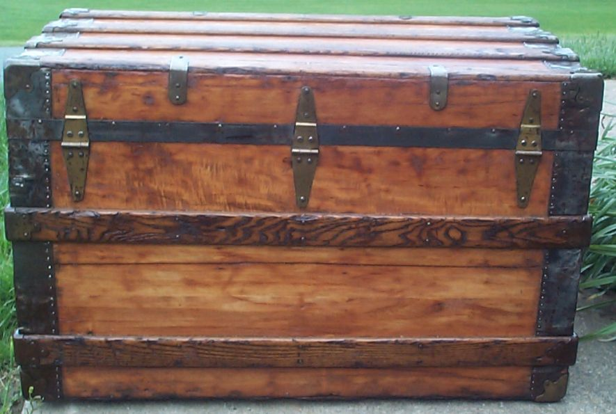 restored victorian flat top antique trunk for sale 643