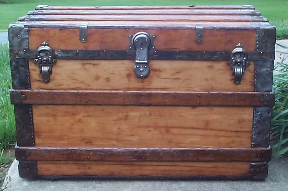 restored all wood flat top antique steamer trunk for sale 643