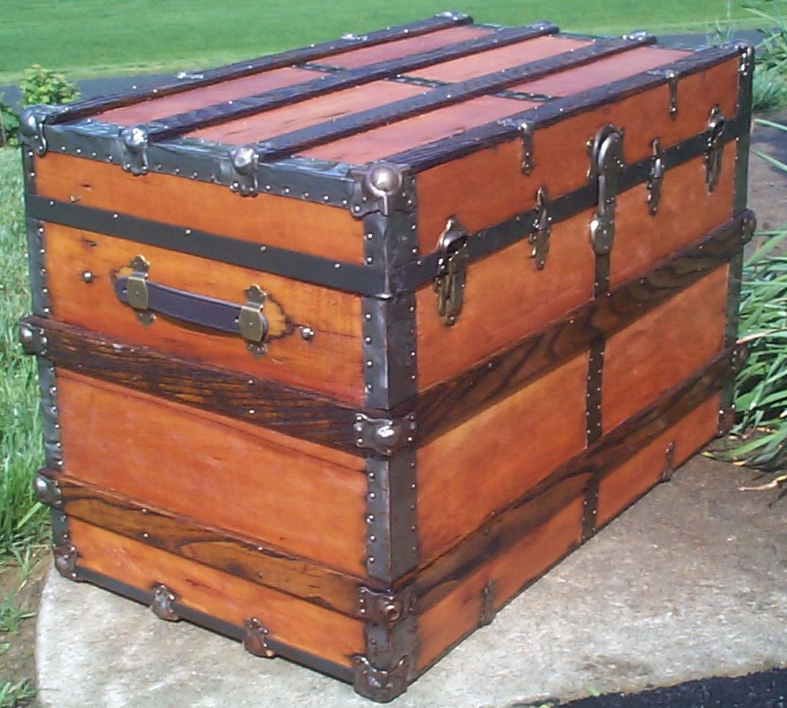 restored victorian flat top antique trunk for sale 644