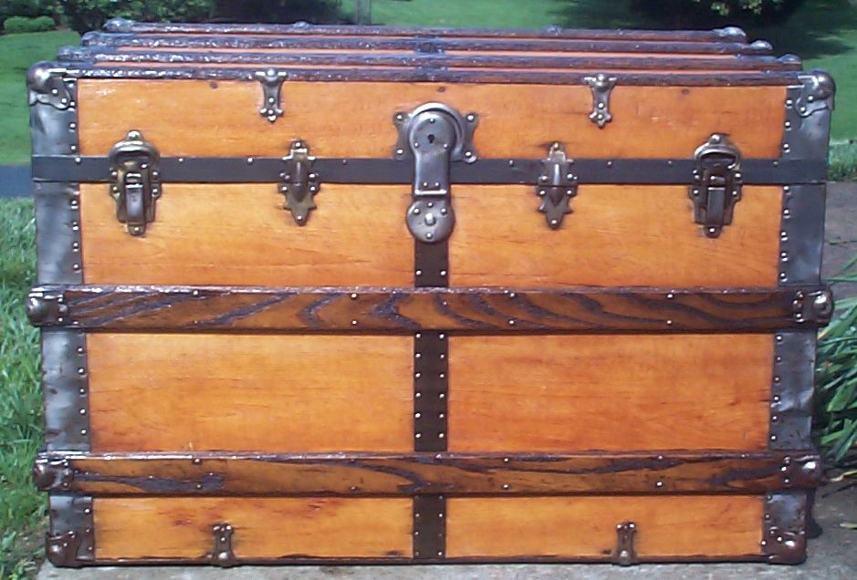 restored all wood flat top antique steamer trunk for sale 644