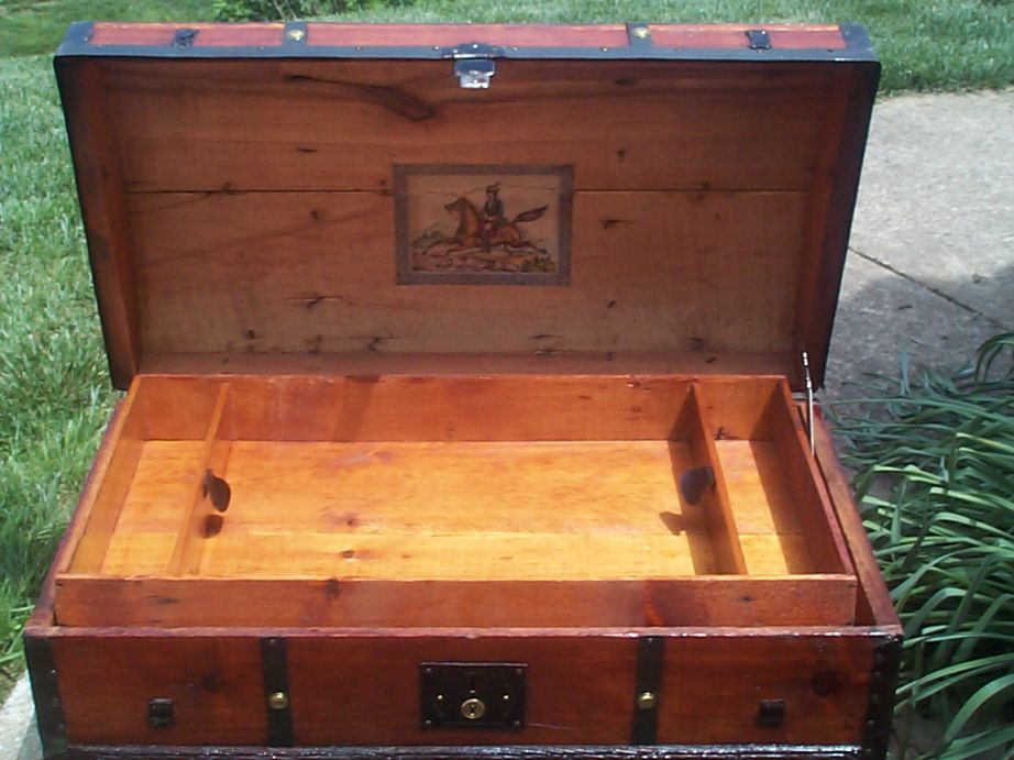 restored victorian lithograph dome top antique trunk for sale 645