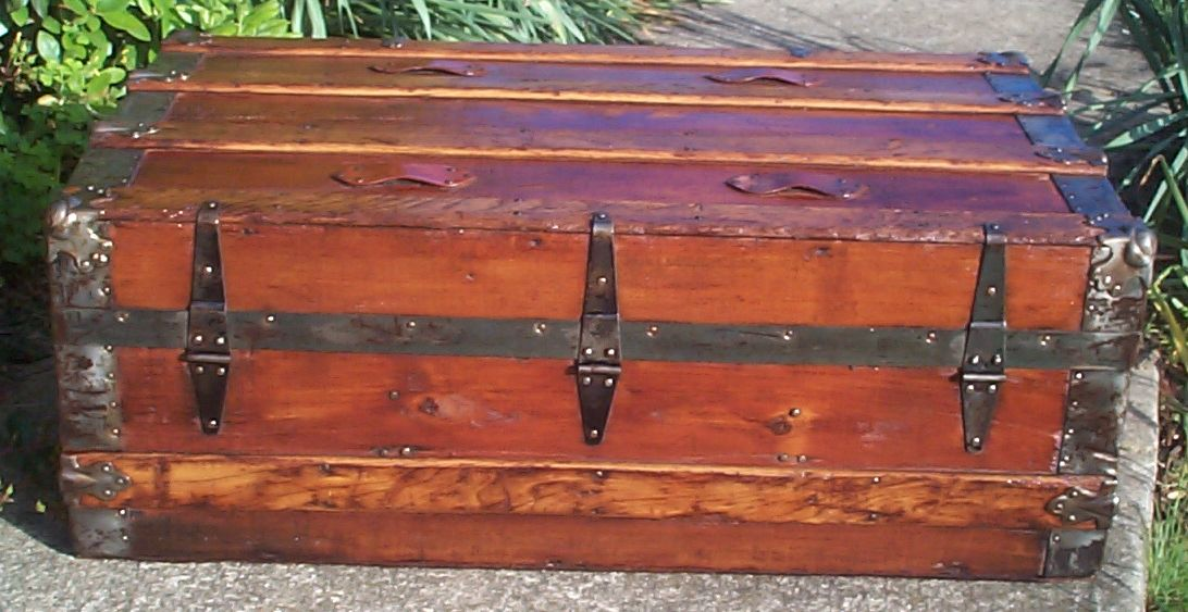 restored victorian flat top low profile antique trunk for sale 646