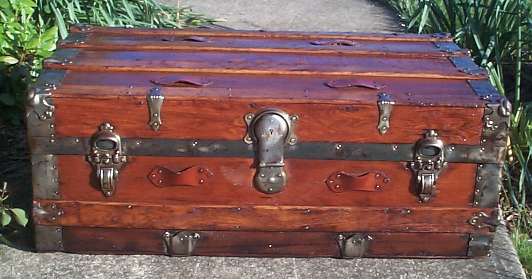 restored all wood low profile flat top antique steamer trunk for sale 646