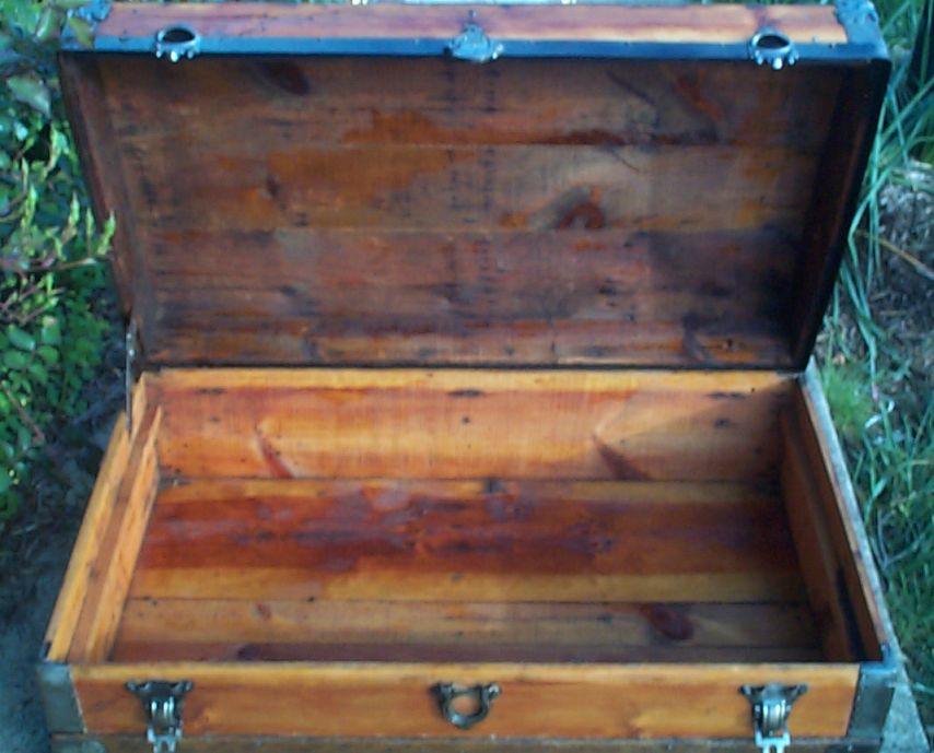 restored victorian flat top low profile antique trunk for sale 647