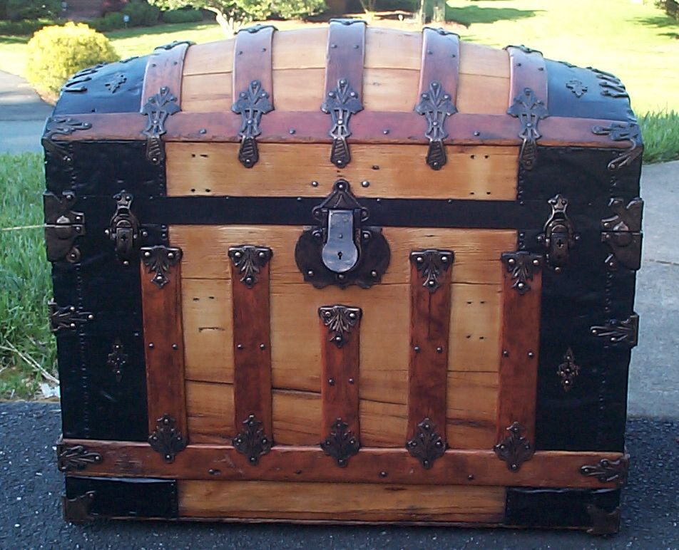 restored all wood dome top antique steamer trunk for sale 648