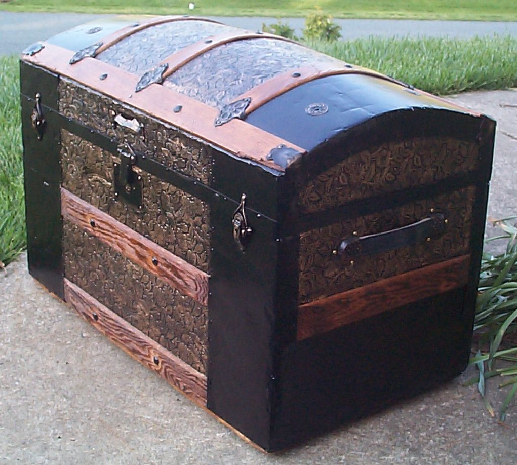 restored victorian dome top humpback antique trunk for sale 649