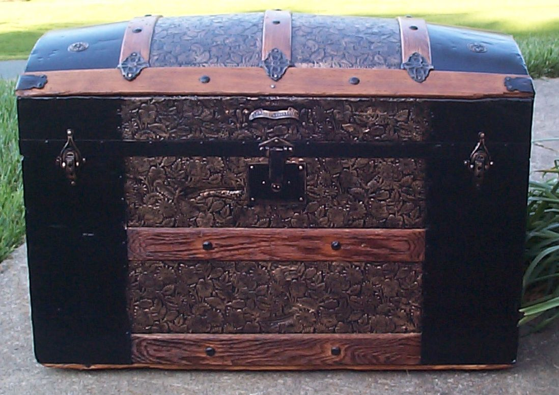 restored all wood dome top antique steamer trunk for sale 649