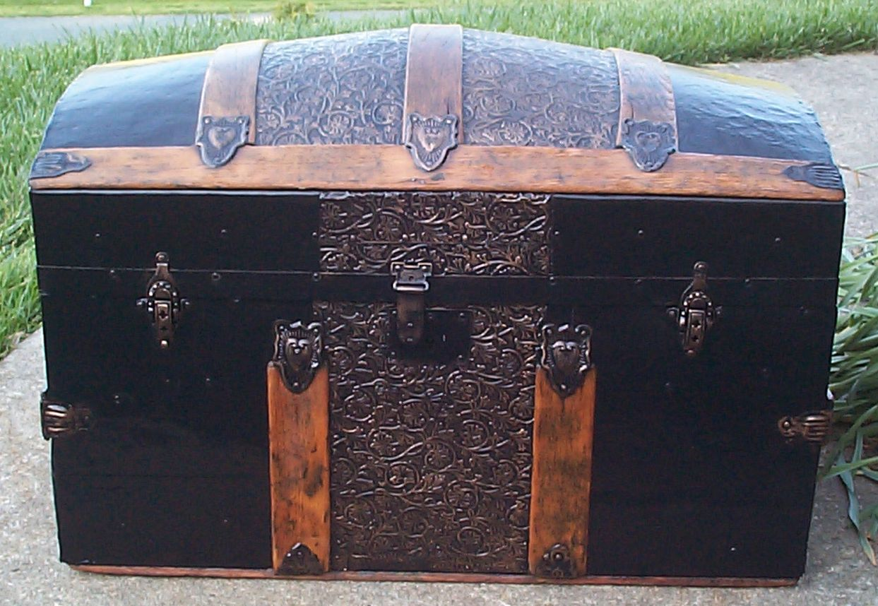restored all wood dome top antique steamer trunk for sale 650