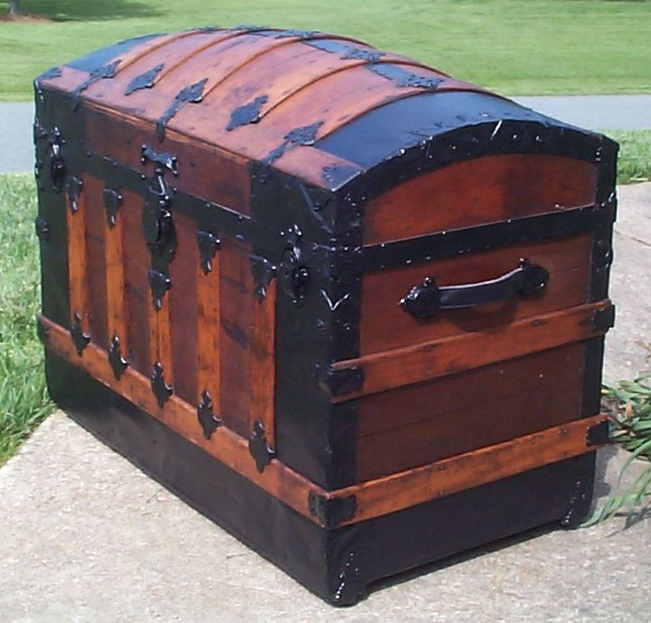 restored victorian dome top humpback antique trunk for sale 651