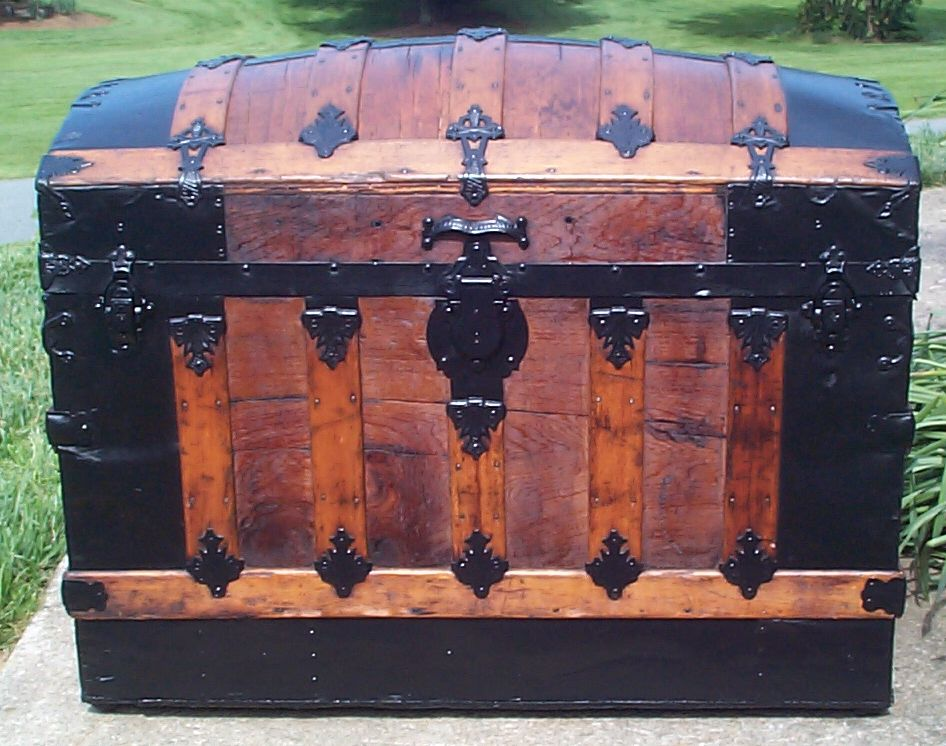 restored all wood dome top antique steamer trunk for sale 651