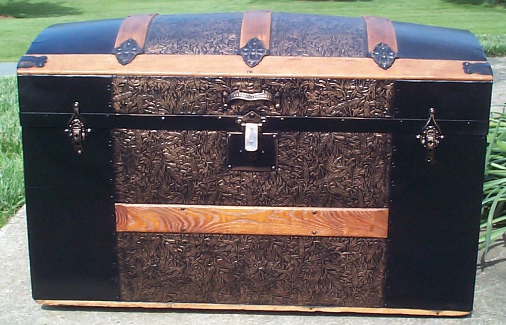 restored all wood dome top antique steamer trunk for sale 652