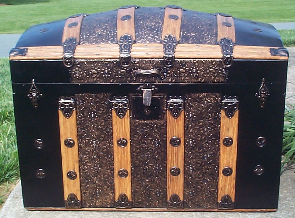 restored all wood dome top antique steamer trunk for sale 653