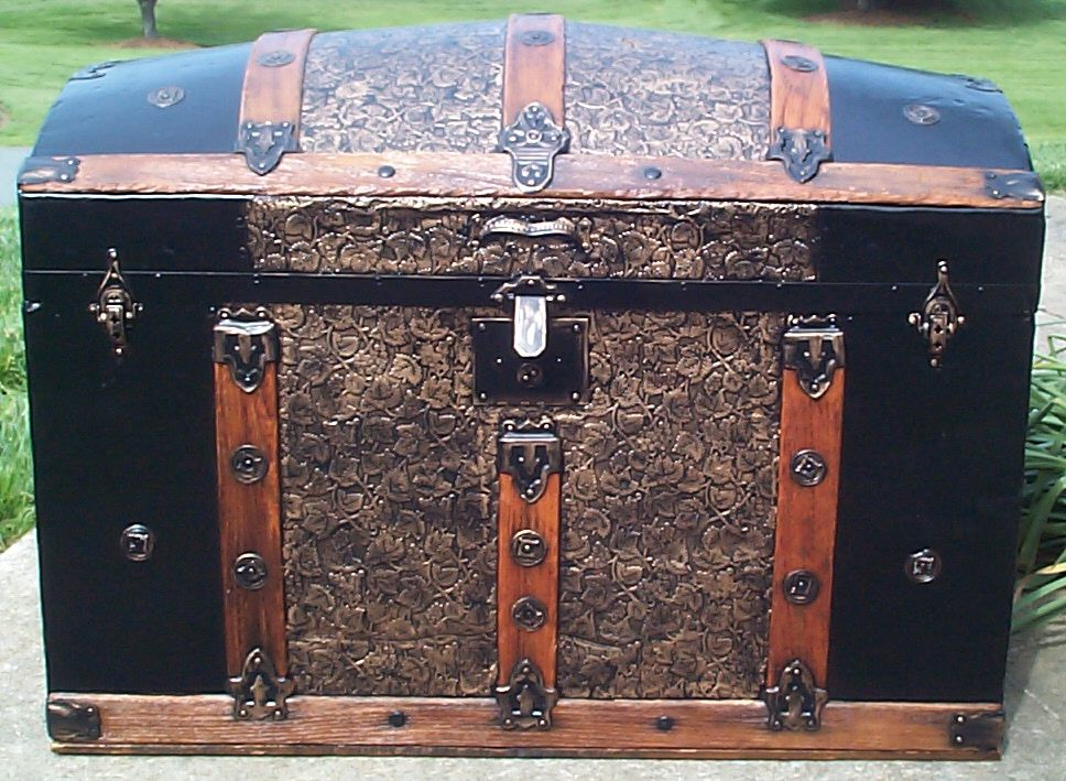 restored all wood dome top antique steamer trunk for sale 654