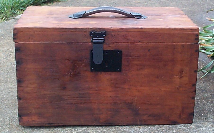 restored all wood flat top salesman sampler doll antique steamer trunk for sale 655