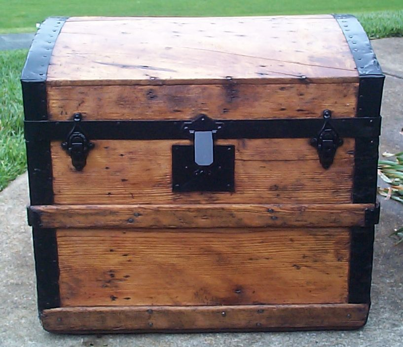 restored all wood dome top antique steamer trunk for sale 656
