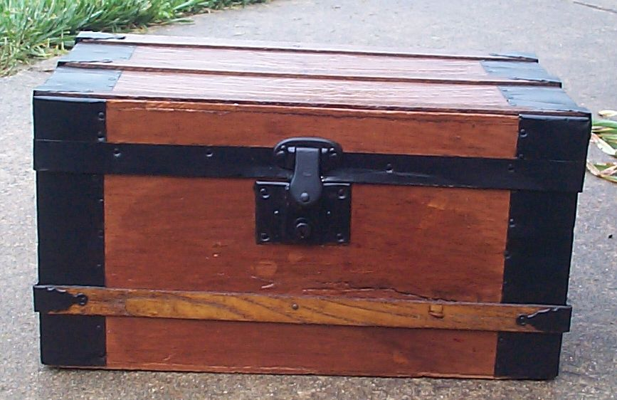 restored all wood flat top antique steamer trunk for sale 657