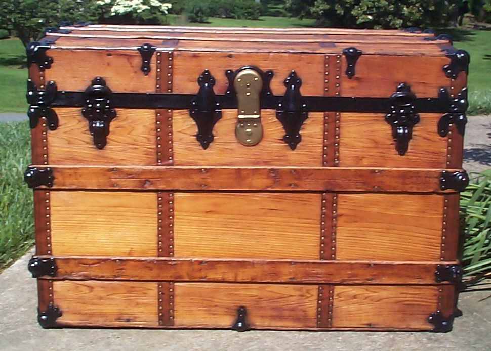 restored all wood flat top antique steamer trunk for sale 658