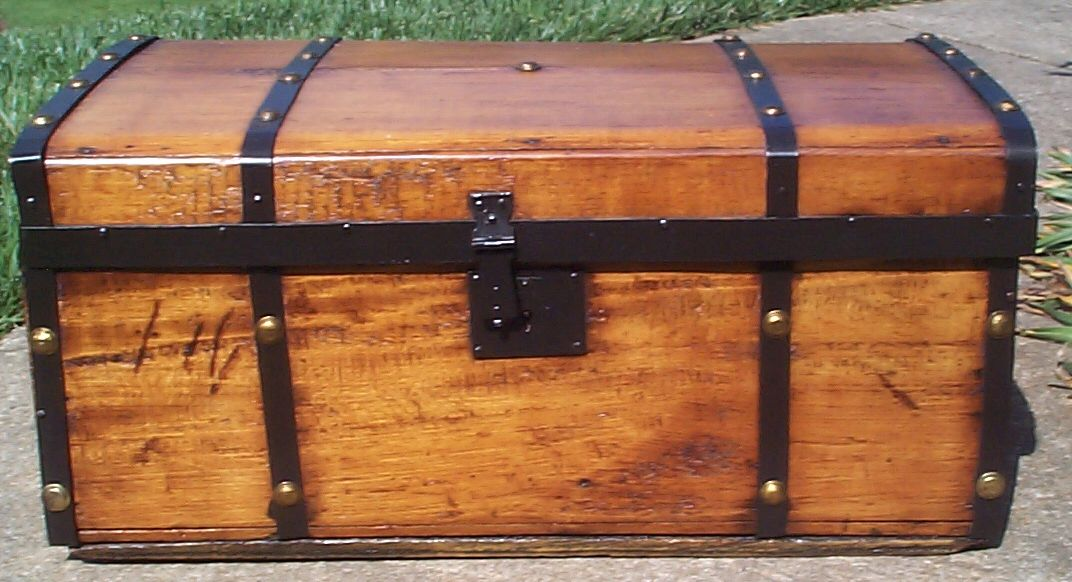 restored all wood civil war flat top antique steamer trunk for sale 659