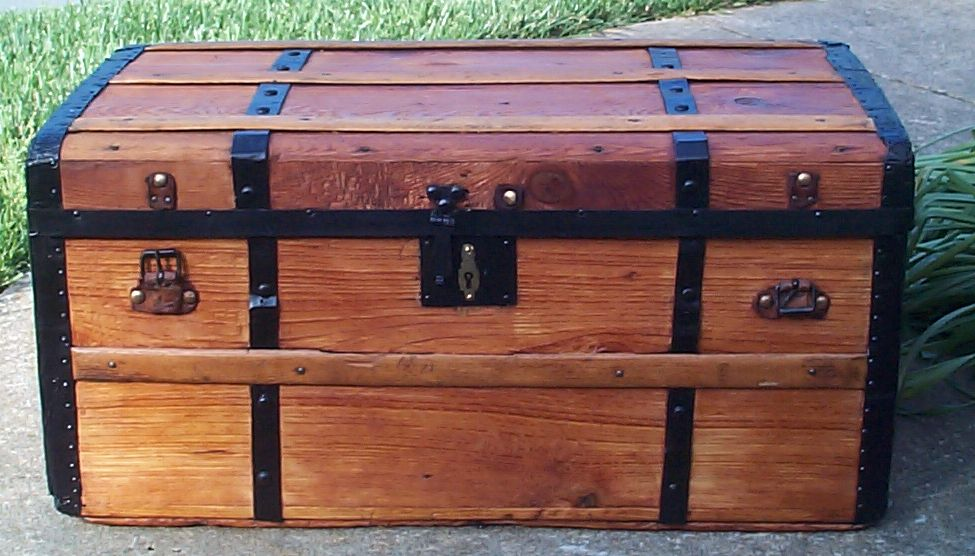 restored all wood civil war flat top antique steamer trunk for sale 660