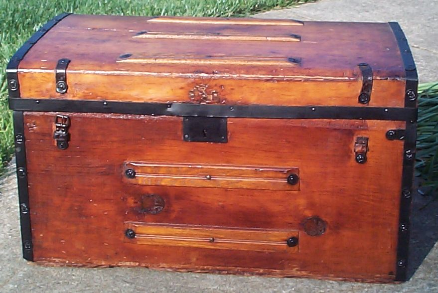 restored all wood civil war flat top antique steamer trunk for sale 661