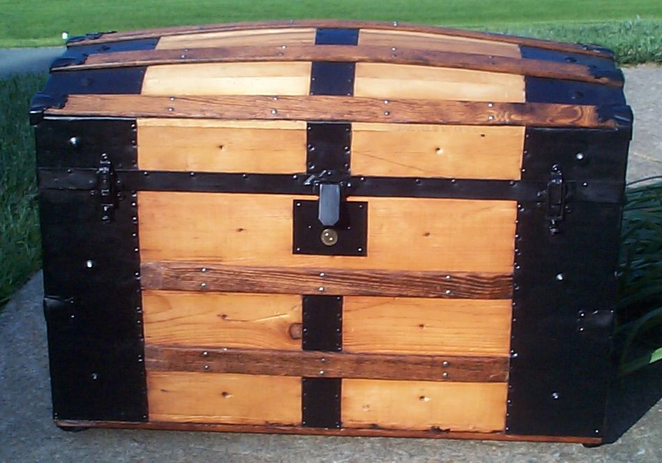 restored all wood dome top antique steamer trunk for sale 662