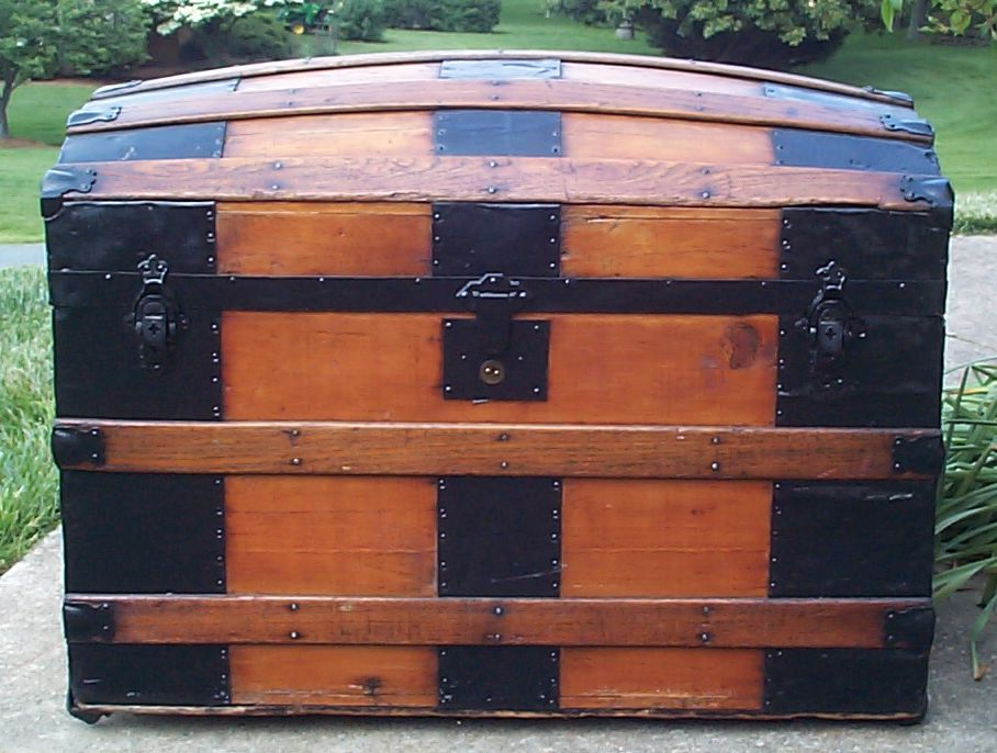 restored all metal dome top antique steamer trunk for sale 664