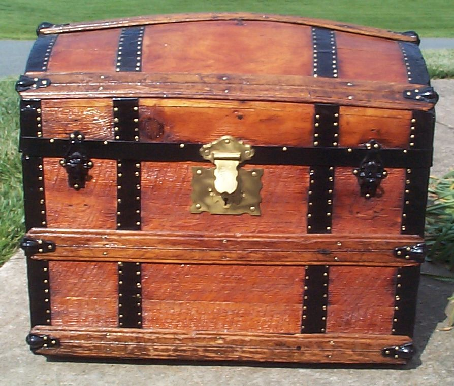 restored all wood dome top antique steamer trunk for sale 665
