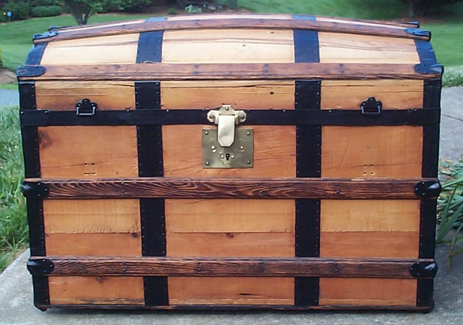 restored all wood dome top antique steamer trunk for sale 667