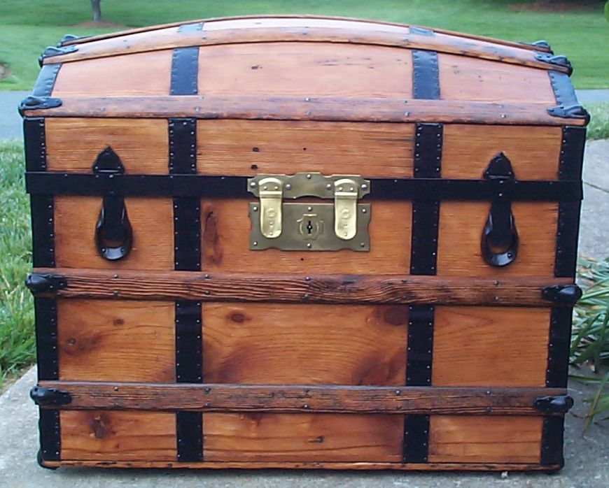 restored all wood dome top antique steamer trunk for sale 668