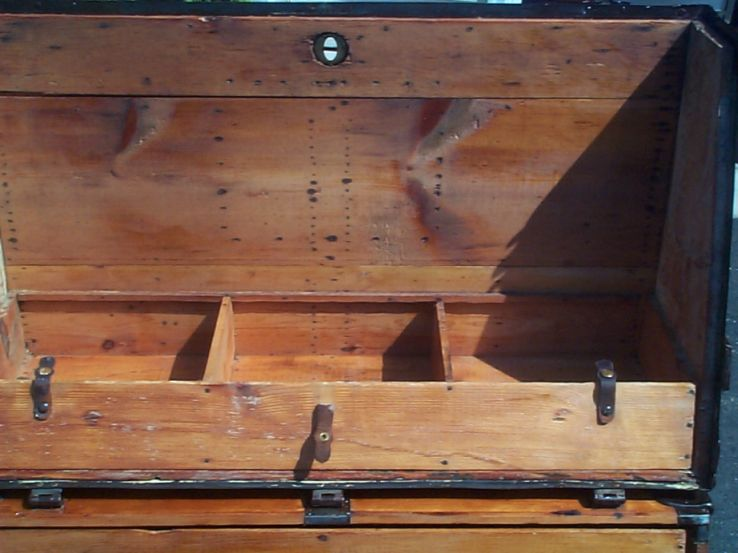 restored victorian Theatrical Trunk Flat top for sale 669