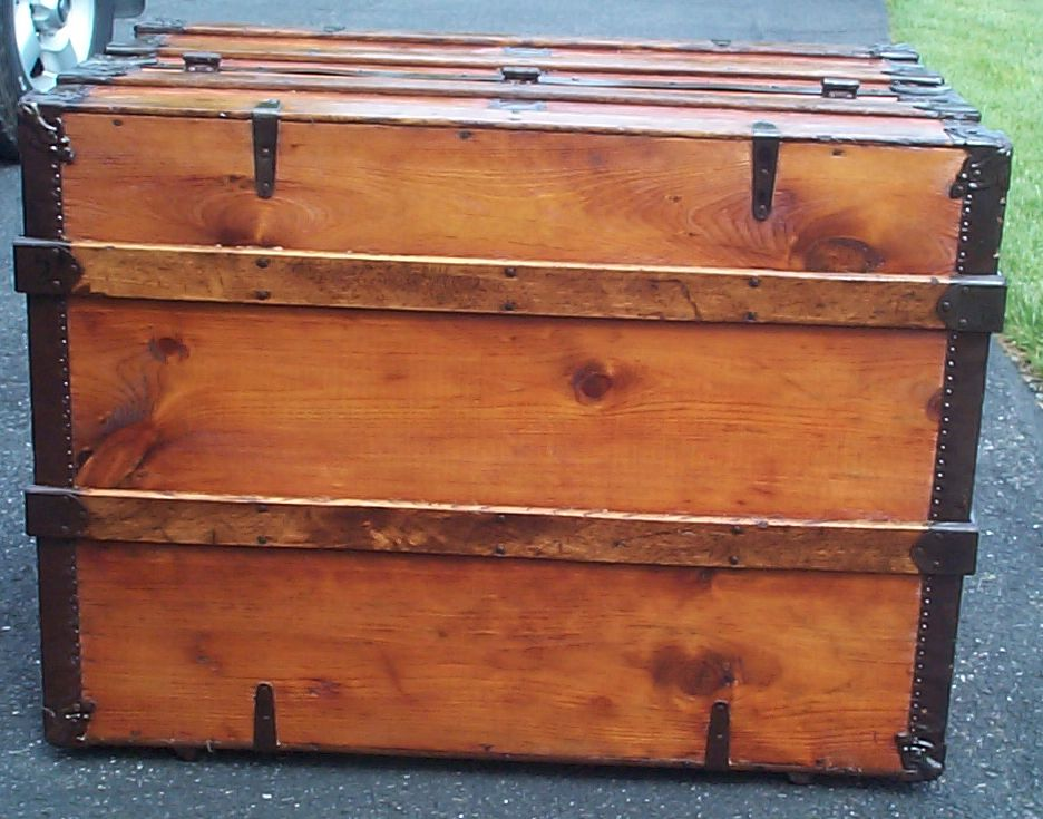restored victorian Theatrical Trunk Flat top for sale 6698