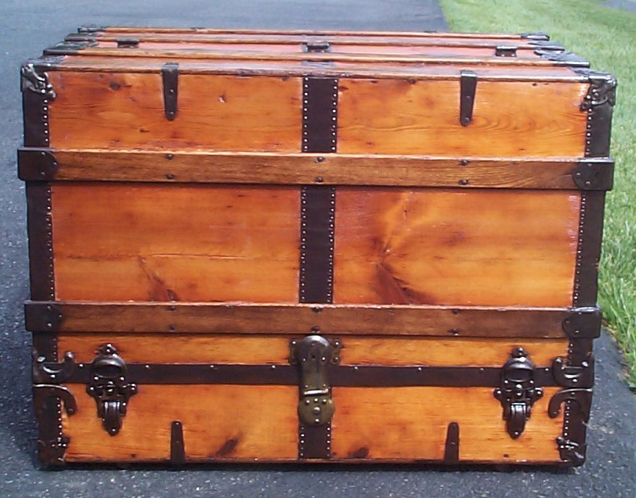 restored all wood theatrical antique trunk for sale 669