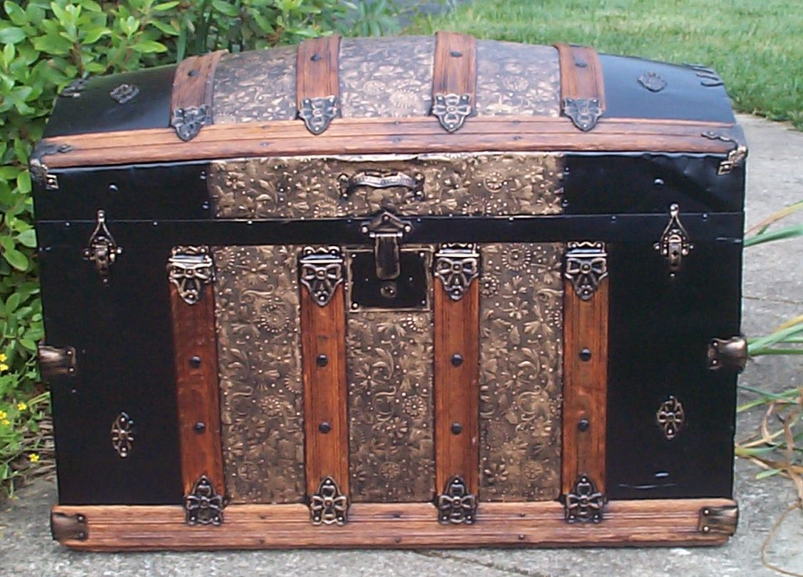 restored all metal dome top antique steamer trunk for sale 670