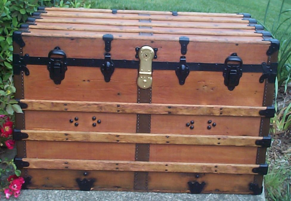 restored all wood flat top antique steamer trunk for sale 671