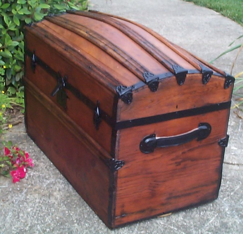 restored victorian all wood dome top trunk for sale 672