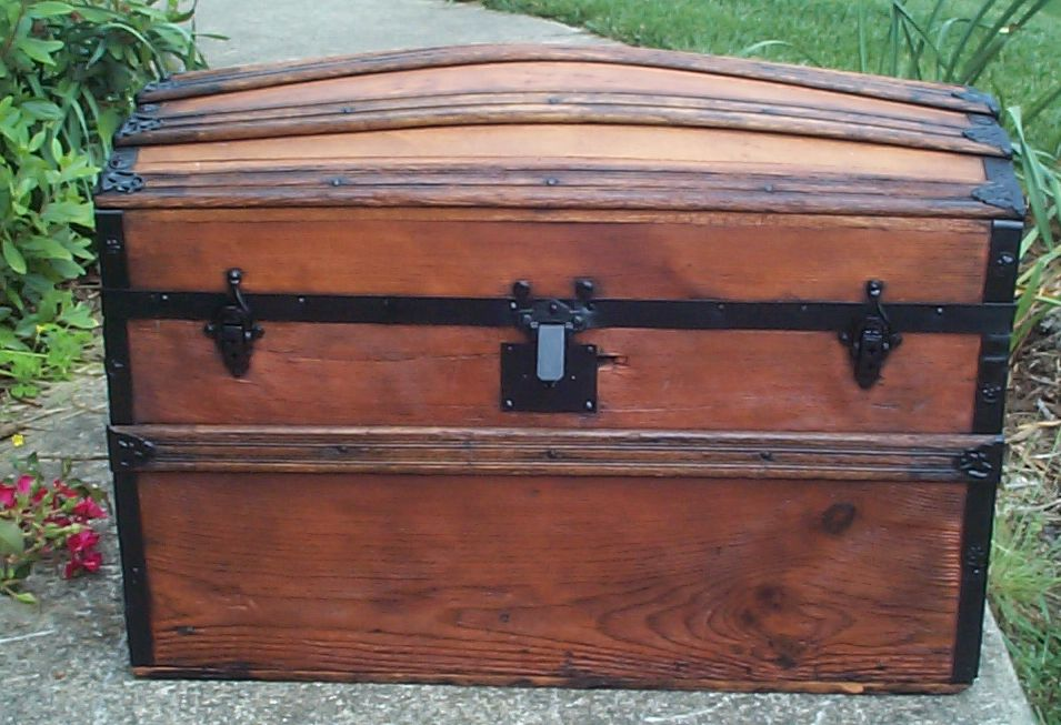 restored all wood dome top antique steamer trunk for sale 672
