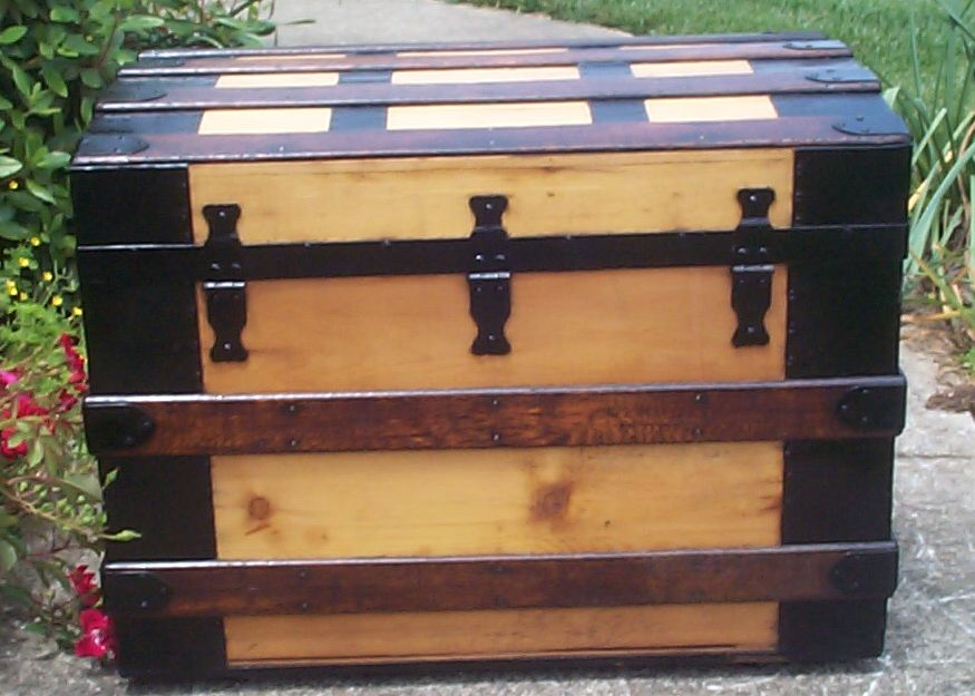 restored victorian all wood roll top trunk for sale 673